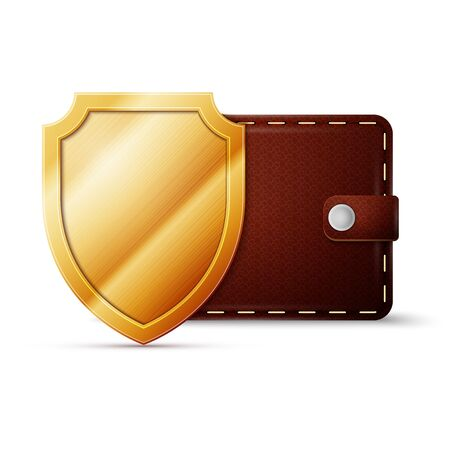 brown leather: Brown Leather Wallet with shield. Money protection concept, excellent vector illustration, EPS 10