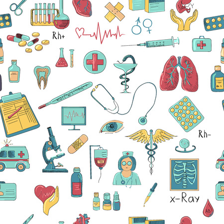 medical drawing: Colored hand draw medicine pattern, excellent vector illustration, EPS 10