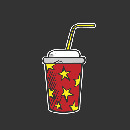 Colored soda fountain drink doodle drawing. Color image. Vector
