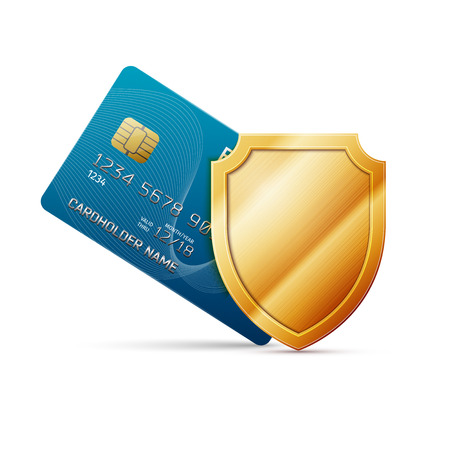 Credit card with shield, excellent vector illustration, EPS 10