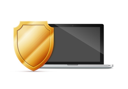 firewall: laptop with shield - internet security, antivirus or firewall, excellent vector illustration, EPS 10 Illustration