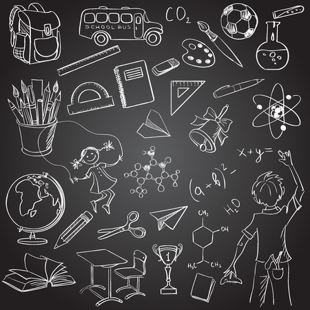 hyphen: School board free hand drawing, excellent vector illustration, EPS 10