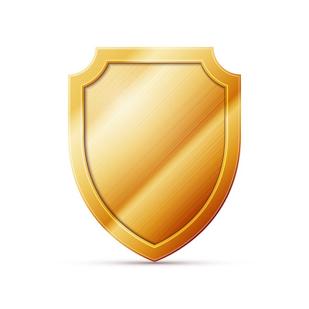 iron defense: gold shield on a white background, excellent vector illustration, EPS 10