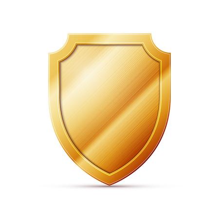 gouden schild op een witte achtergrond, uitstekende vector illustratie, EPS-10 Stock Illustratie