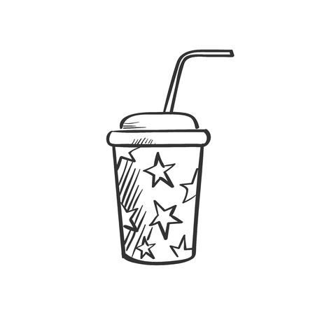 sip: soda fountain drink doodle drawing, excellent vector illustration, EPS 10