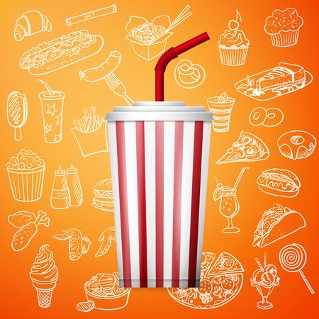 sip: refresco bebida de la fuente y de la mano dibujar icono de la comida r�pida, excelente ilustraci�n vectorial, EPS 10 Vectores