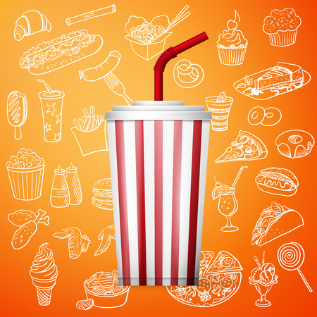 soda fountain drink and hand draw fast food icon, excellent vector illustration, EPS 10 Vector