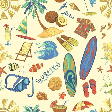 surf silhouettes: Colored surfing hand draw pattern. Summer, excellent vector illustration Stock Photo