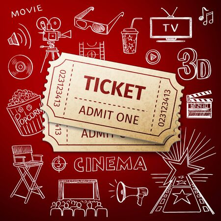 two tickets and hand draw cinema icon, excellent vector illustration