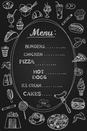 Food Menu on Chalkboard, excellent vector illustration