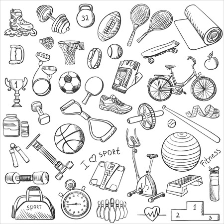 Hand drawn Fitness doodle set, excellent vector illustration Çizim