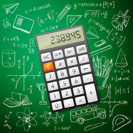 derivation: Mathematics hand drawing with a calculator, excellent vector illustration