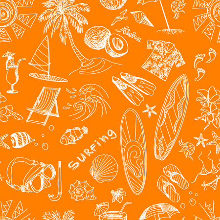 diving board: orange surfing  hand draw pattern, summer time, excellent vector illustration