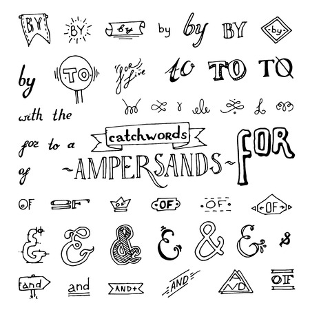 set of chalkboard style ampersands, excellent vector illustration
