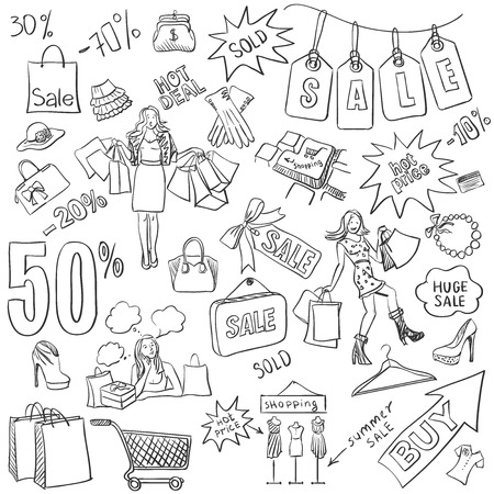 Shopping doodles, Sale. hand drawn style. Excellent vector illustration Stok Fotoğraf - 40379844