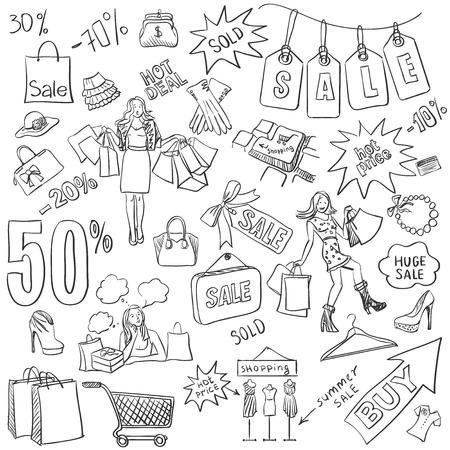 Shopping doodles, Sale. hand getekende stijl. Uitstekende vector illustratie
