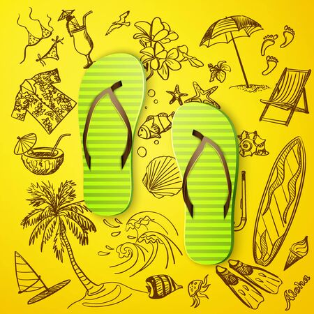 thongs: thongs and hand draw tourist icon, excellent vector illustration, EPS 10