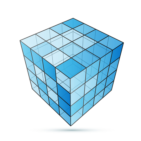 three d: Three D cube blue on a white background, excellent vector illustration,