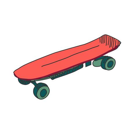 lowbrow: Colored doodle skateboard, excellent vector illustration, EPS 10