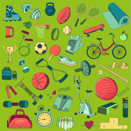 biking glove: Set of colorful hand drawn doodle style health and fitness icons.