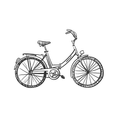 Doodle bicycle, excellent vector illustration,