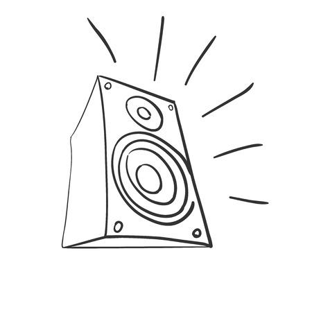 Doodle speaker icon illustration on a white background Çizim