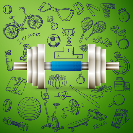 hand with dumbbell: dumbbell and hand draw sport icon, excellent vector illustration
