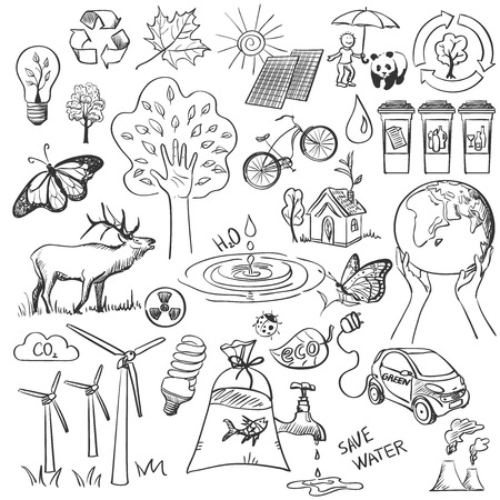 Ecologie en recyclen doodle pictogrammen instellen, uitstekende vector illustratie, EPS-10 Stock Illustratie