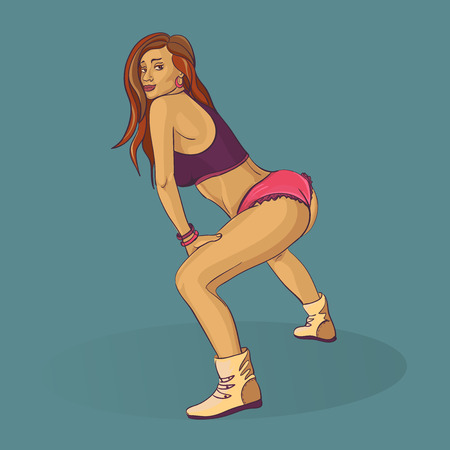 bright girl dance Twerking doodle, excellent vector illustration, Ilustração