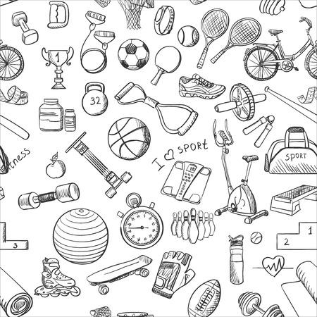 Hand getrokken doodle sport naadloos patroon. Vector achtergrond voor uw ontwerp.