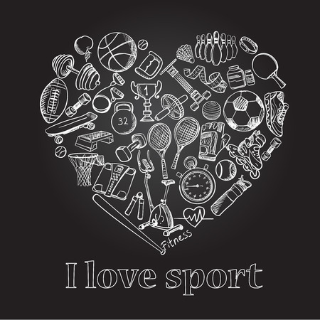 I love sport, hand drawn doodle set, excellent vector illustration, EPS 10