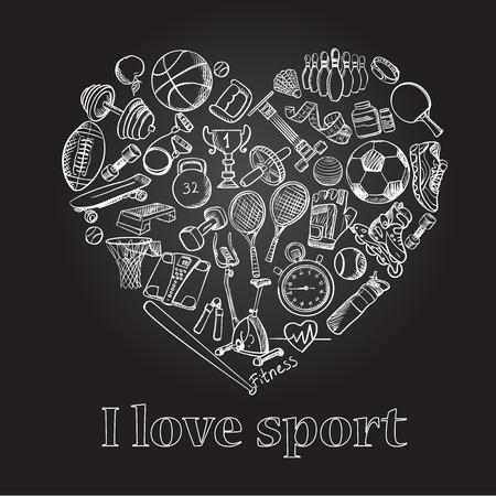 I love sport, hand drawn doodle set, excellent vector illustration, EPS 10