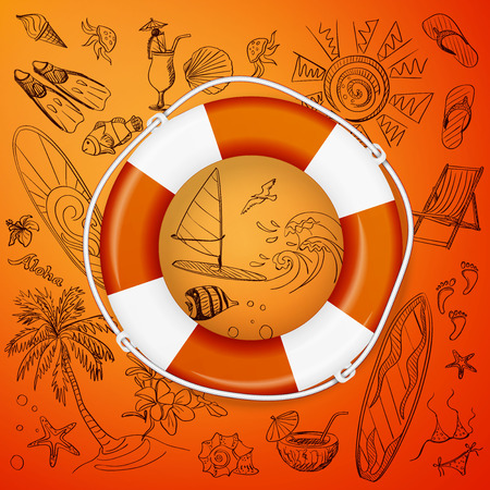 life belt: life buoy and hand draw icon, excellent vector illustration,