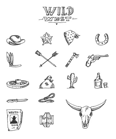 cowboy cartoon: Wild west design sketch, excellent vector illustration,  Illustration