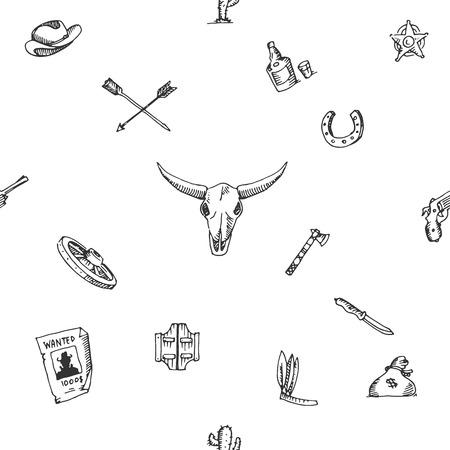 sketch pattern: Patr�n de boceto del dise�o del oeste salvaje, excelente ilustraci�n vectorial,