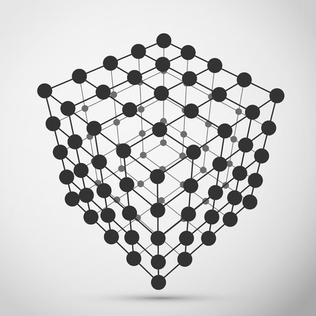Wireframe polygonal element, design element template for technology theme projects