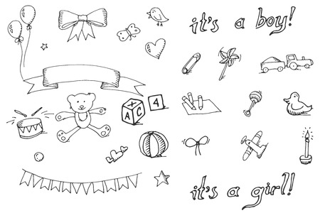 Baby doodle icons set, excellent vector illustration, EPS 10 Vettoriali
