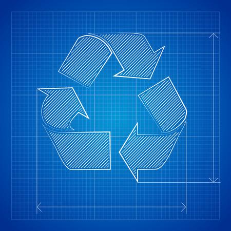 blueprint: Recycle Symbol Blueprint Icon, excellent vector illustration, EPS 10