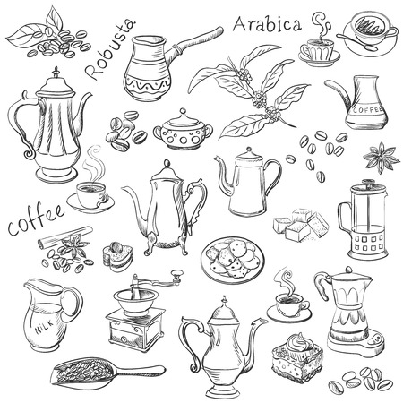 sweetshop: coffee collection hand drawn illustration, excellent vector illustration, EPS 10 Illustration