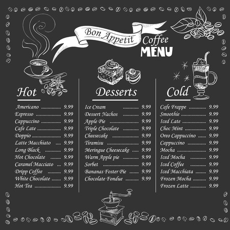 hot cup: Set of coffee menu with a cups of coffee drinks in vintage style stylized drawing with chalk on blackboard. Lettering Know your coffee. excellent vector illustration, EPS 10