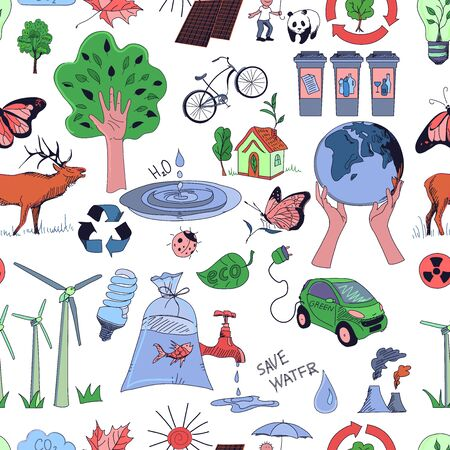 Colored Ecology and recycle doodle pattern, excellent vector illustration, EPS 10 Vector