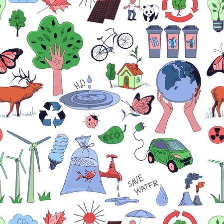 kompost: Colored �kologie und Recycling-doodle Muster, ausgezeichnete Vektor-Illustration, EPS-10 Illustration