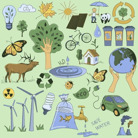 Colored Ecology and recycle doodle icons set, excellent vector illustration, EPS 10 Vector