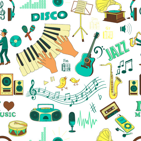 Colored hand draw music psttern, excellent vector illustration, EPS 10