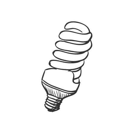 doodle Energy saving light bulb, excellent vector illustration, EPS 10