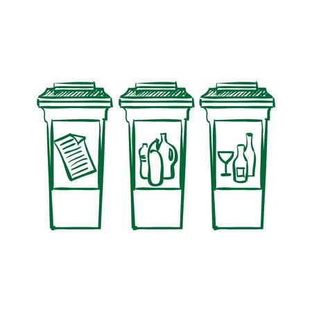 separacion de basura: Las papeleras de reciclaje del doodle, separación de basura. excelente ilustración vectorial, EPS 10 Vectores