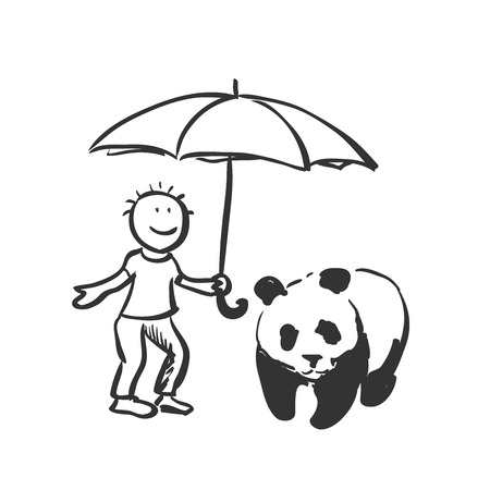ecological damage: doodle save panda concept. Expression of the idea for protecting of wildlife and rare animals. Illustration