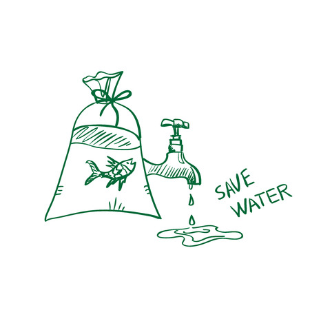 doodle save water concept, excellent vector illustration, EPS 10 Vector