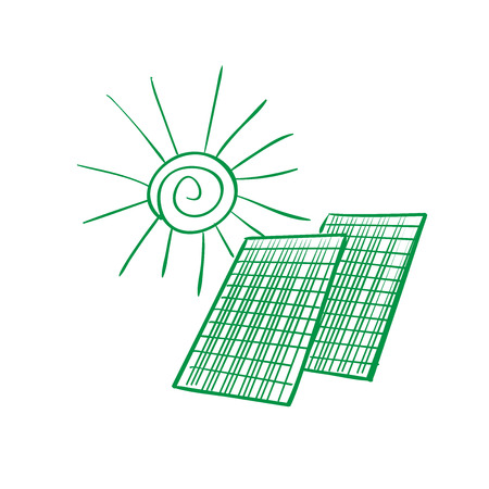 schemes: Solar panel energy scheme as doodles sketch how to convert or transform solar energy for the consumer
