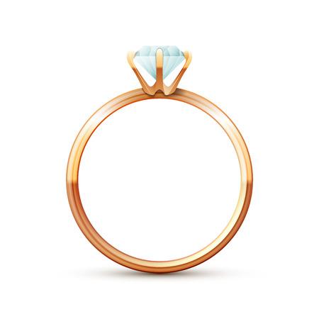 Enkele gouden bruiloft diamanten ring op witte achtergrond
